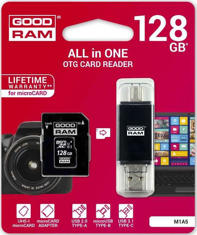 Goodram 128GB Micro SD All in one + Czytnik kart typ C M1A5-1280R11 Karta pamięci