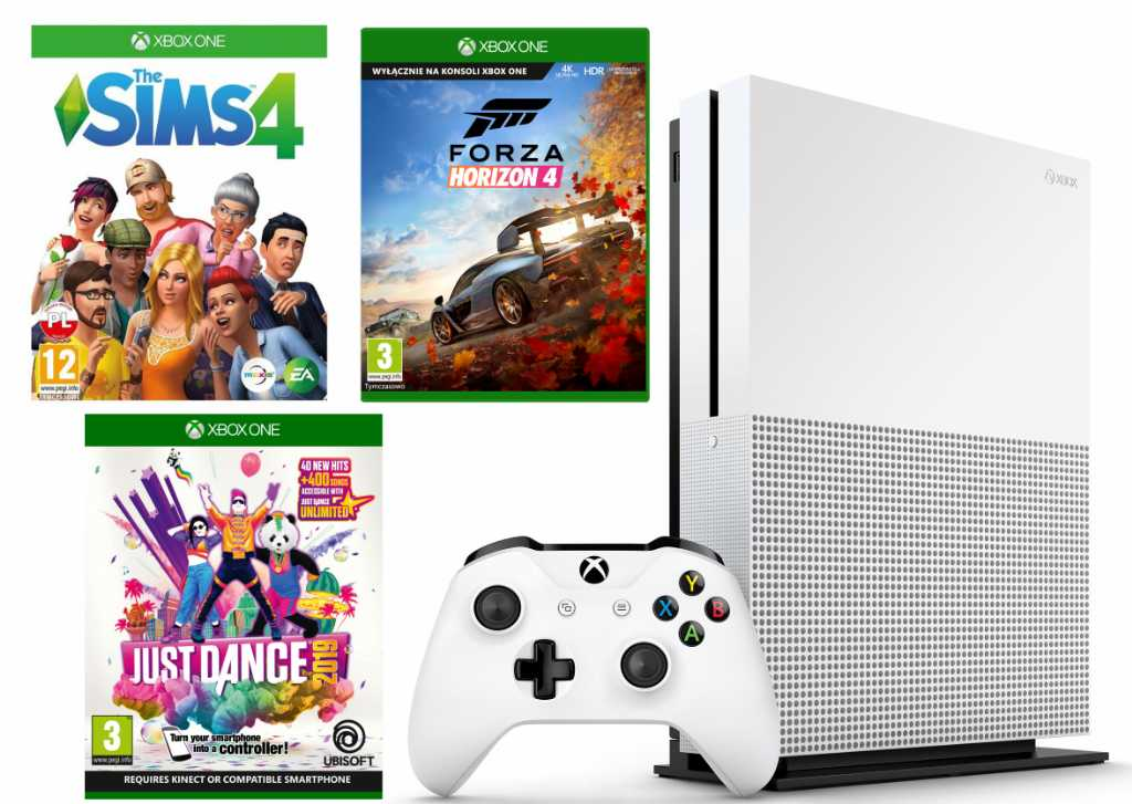 Microsoft Xbox One S 1TB + Forza Horizon 4 + Just Dance 2019 + The Sims 4 Konsola
