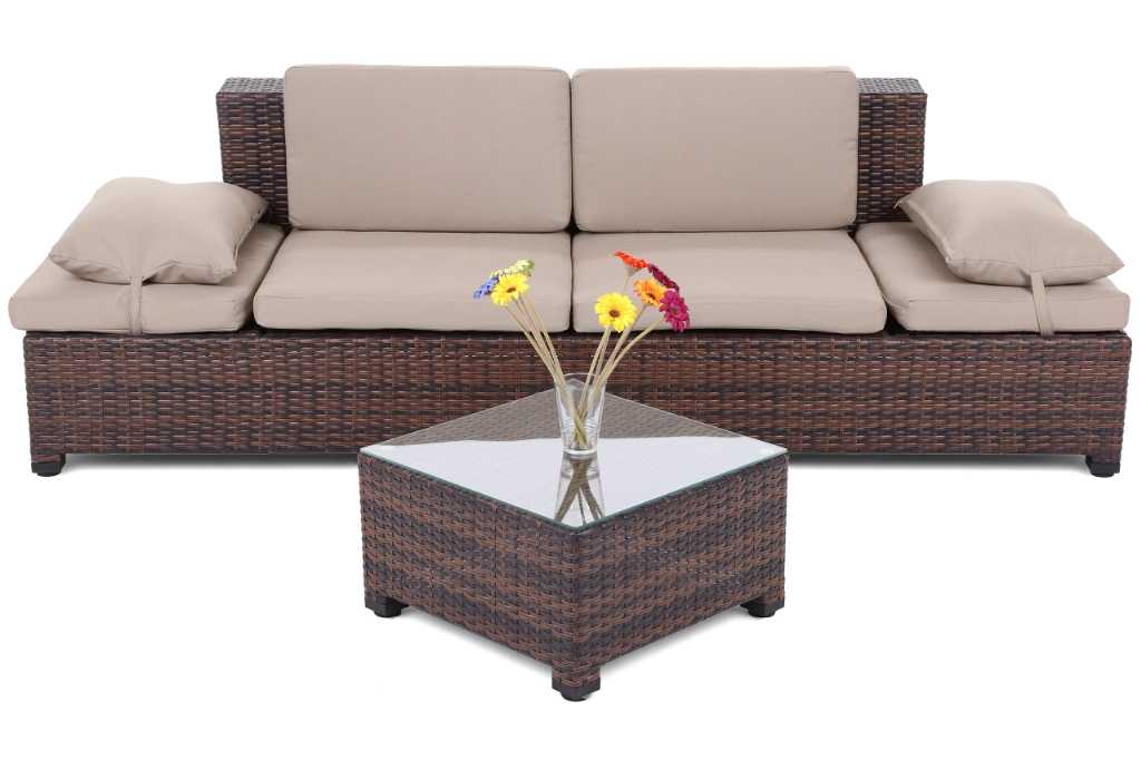 Home & garden Sofa Milano 2 w 1 Brown/Taupe Meble ogrodowe