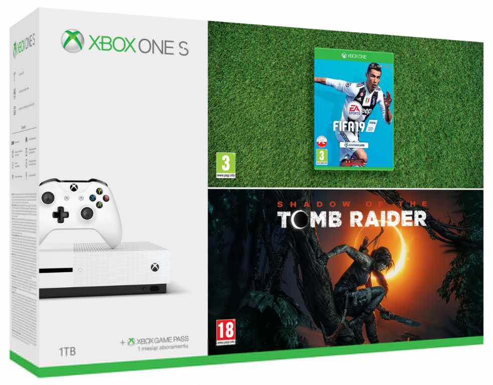Microsoft XBOX ONE S 1TB + FIFA 19 + Shadow of the Tomb Raider Konsola