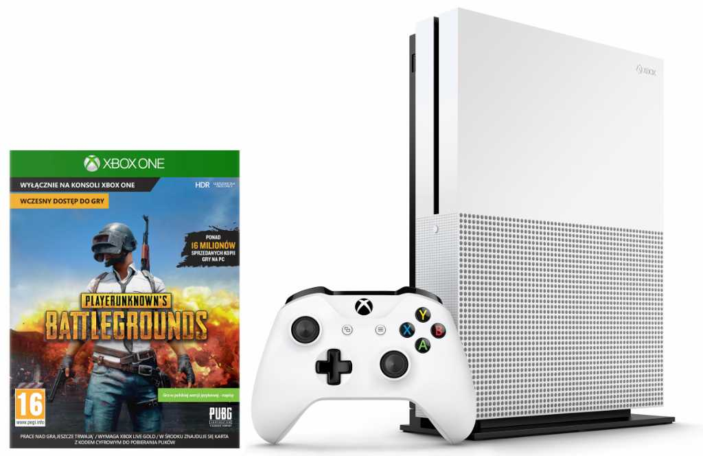 Microsoft Xbox One S 1TB + PlayerUnknown's Battlegrounds + 6M Live Gold Konsola