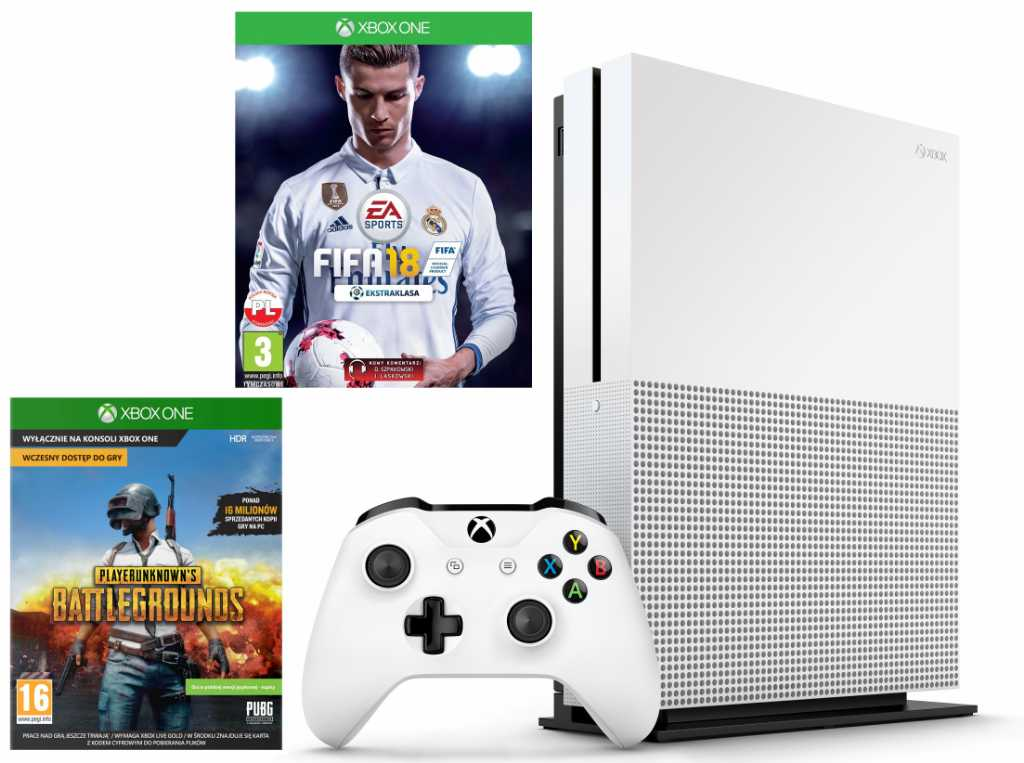 Microsoft XBOX ONE S 1TB + PlayerUnknown's Battlegrounds + FIFA 18 + 6M XBL Konsola