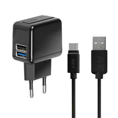 Ładowarka SBS Kit travel charger 2xUSB Type C