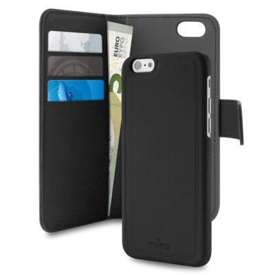 Etui PURO Wallet Detachable 2w1 do iPhone 7 Czarny