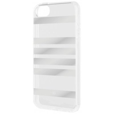 Etui XQISIT Shell Stripes do Apple iPhone 5/5S/SE Srebrny